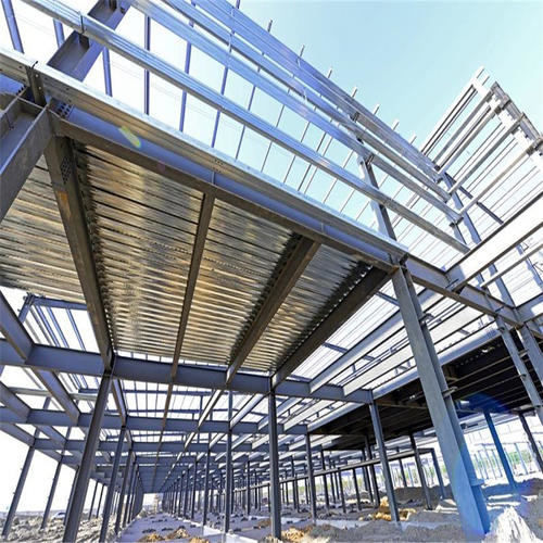 Durable Garage Steel Frame For High Building With Grey Paint / Floor Decking